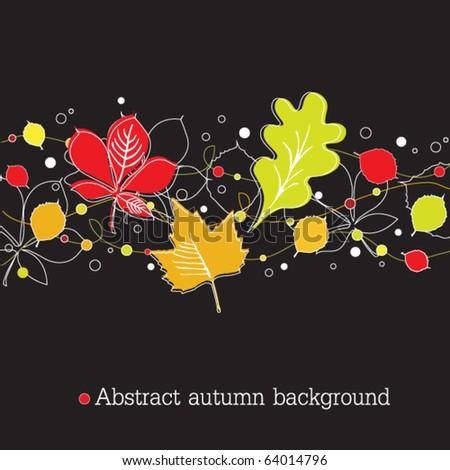 Autumnal background on black