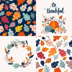 Autumnal collection of cards with decorative seamless patterns and hand lettering