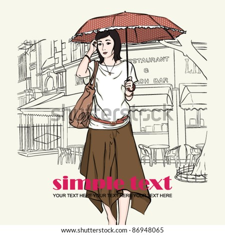 Autumnal fashion girl with umbrella on a street-cafe background. Vector illustrator. Place for your text.
