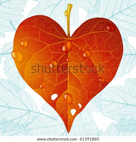 Autumnal heart and seamless leaf background