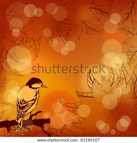 Autumnal orange background with flowers and bird