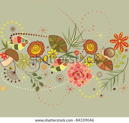 Autumnal seamless border - stock vector
