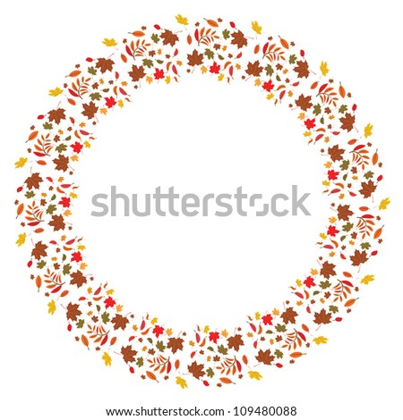 autumnal vector frame with leaves of maple and ash trees