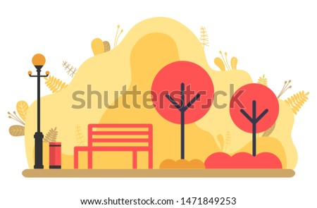 autumnal yellow park vector