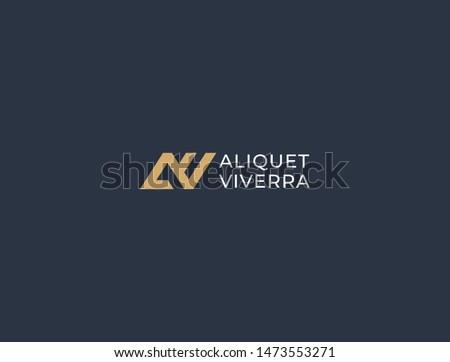 av monogram of two letters a v