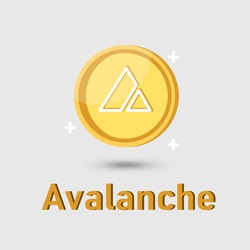 Avalanche (AVAX) cryptocurrency icon. Gold Avalanche coin cryptocurrency. Illustration for logo adaptation design web site mobile app, EPS10.