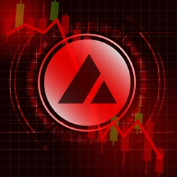 Avalanche (AVAX) cryptocurrency value price fall drop concept design. Glowing Dash Coin on red candle stick charts with black and red background.Vector Illustration.EPS10.