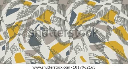 Avant Gard modern vector seamless pattern. Yellow-grey palette. Contemporary art ornament. Foto stock ©