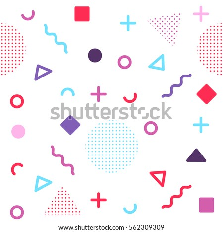 Avant-garde geometric seamless pattern on white with colorful shapes.