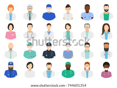 Avatar Doctor, hospital staff. Doctor avatar flat vector set on white background