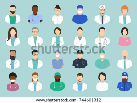 Avatar doctor. Hospital staff icons vector set, surgeons, nurses and other medical practitioners