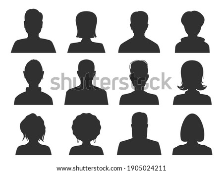 Avatar faceless black female, male icons set. Women, men, girls, guys, boys silhouette with different hairdo styles. Member heads and shoulders. Vector collection isolated on white for web, apps. Foto stock ©