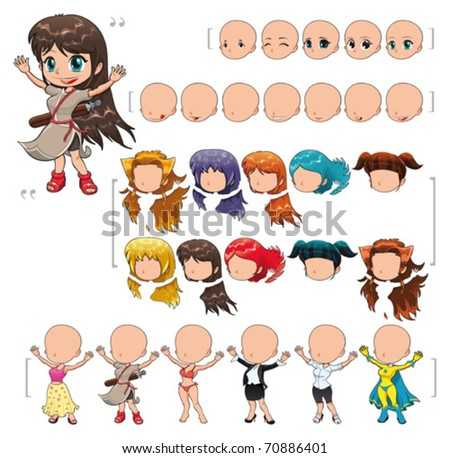 Avatar girl, vector illustration, isolated objects.  All the elements adapt perfectly each others. Larger character on the right is just an example. 5 eyes, 7 mouths, 10 hair and 6 clothes. Enjoy!!