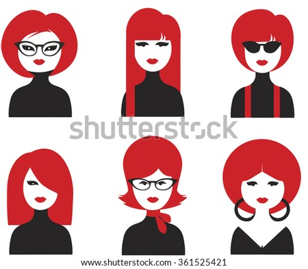 avatar girls faces isolated