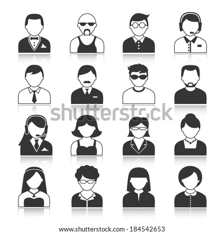 Avatar icons users head black silhouette portrait isolated vector illustration