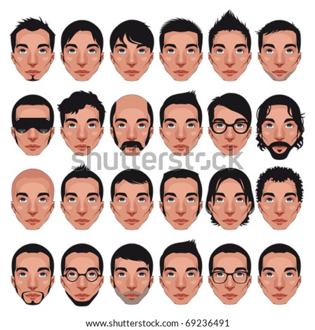 Avatar, men's portraits. Vector isolated characters with different hairstyles - stock vector