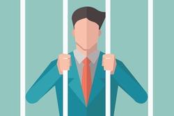 Avatar of businessman holding bars in prison, behind bars, or in jail. Vector illustration flat design.