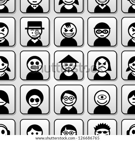 Avatar people icons. Seamless pattern.
