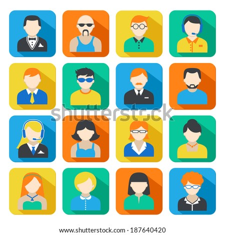 Avatar pictograms social networks users colorful square icons collection flat isolated vector illustration