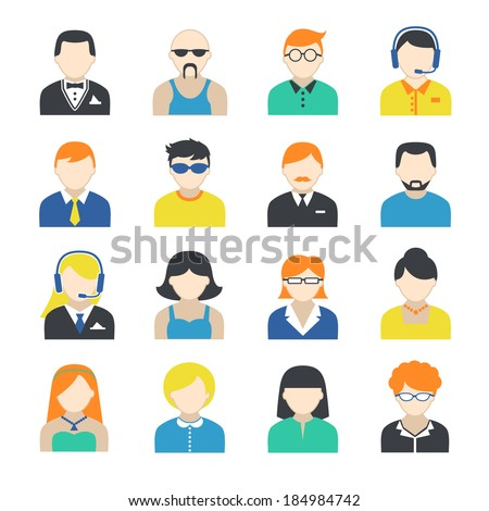 Avatar pictograms social networks users profile icons collection flat isolated on white vector illustration