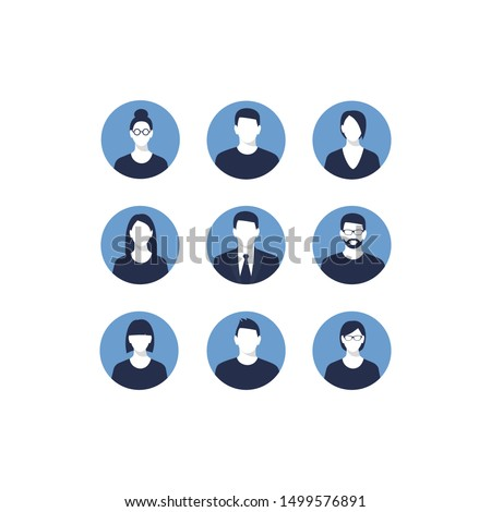 Avatar profile icon set including male and female. Set of Men and Women Characters Portraits, Round Avatar Icons Isolated on White Background, Collection of Young People Different Hair Styles, Types,