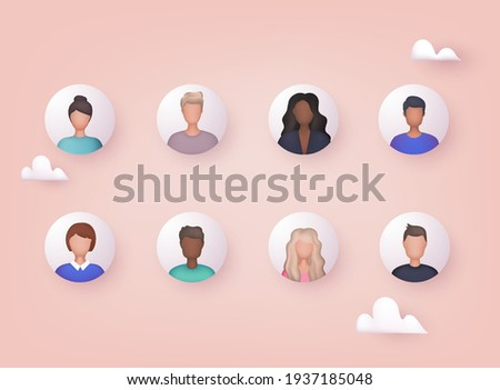 Avatar profile picture icon set including male and female. Cute cartoon modern simple design. 3D Web Vector Illustrations.