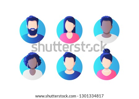 Avatar profile picture icon set including male and female. Vector illustration.