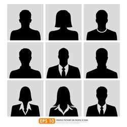 Avatar profile picture icon set including male, female & businesspeople
