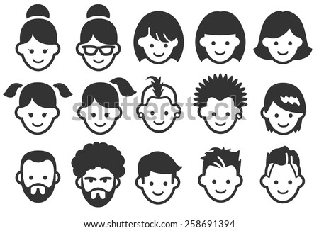 Avatar vector illustration icon set 1. Included the icons as face, user, man, woman, characters, style and more.