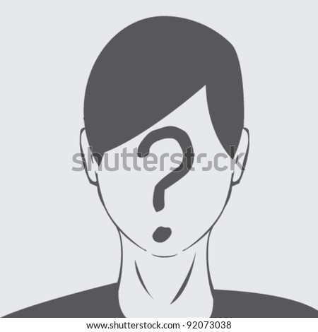 Avatar with blank question mark face illustration