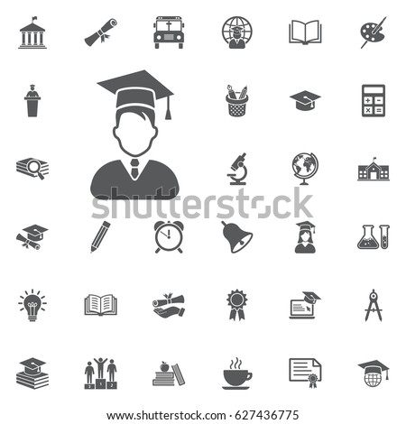 Avatar with Graduation Cap icon on the white background. Education Vector Icon Set