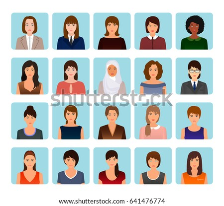 Avatars characters set of different kind women. Business, elegant and sports female icons faces. Flat style vector illustration.