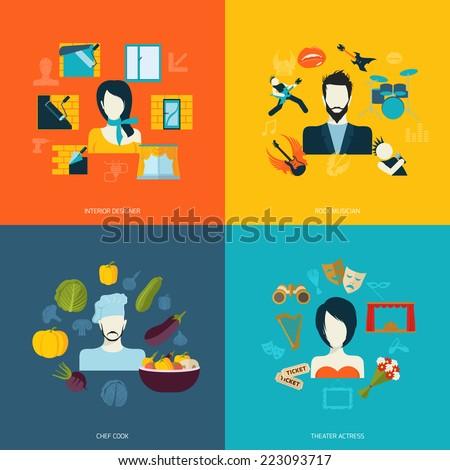 avatars icons set flat with