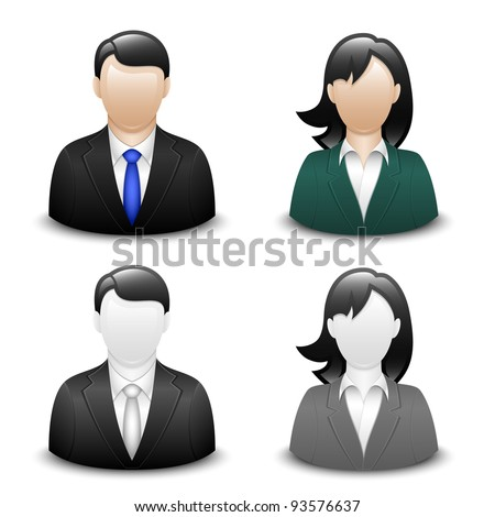 Avatars of a male and a female in business suits. Vector