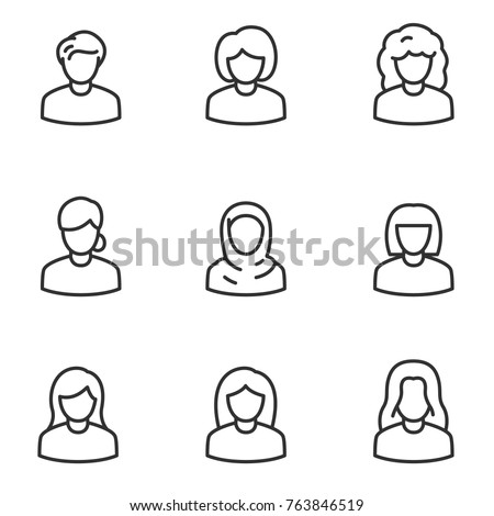 Avatars of women icon set, linear design. Collection of different icons. Line with editable stroke