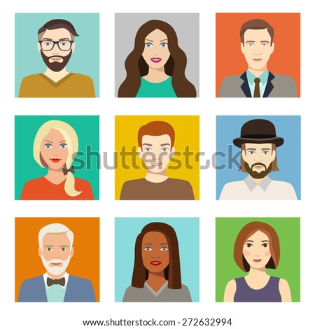 Avatars profile pictures flat icons Characters for web Vector illustration