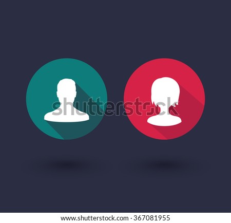 avatars round flat icons with long shadows, vector illustration