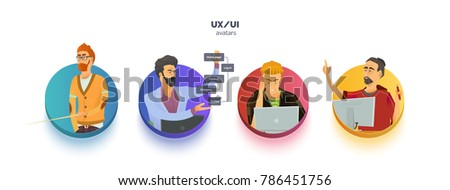 Avatars set for user experience, user interface, business. Character in the process of work. Info graphics, icons and scheme.