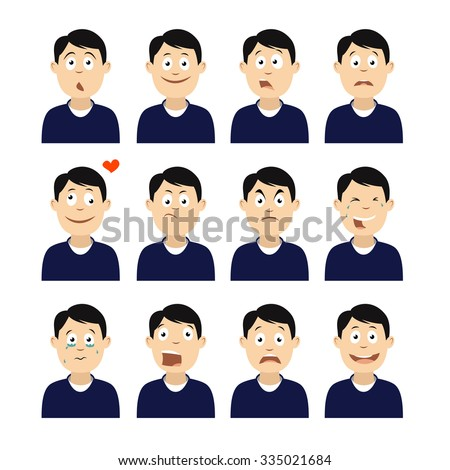 Avatars with emotions face. Men's avatars.