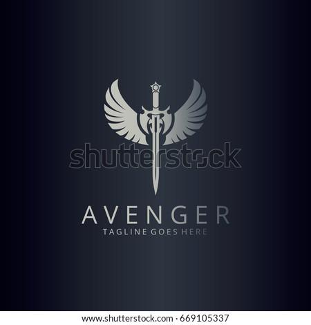 Avenger logo. Angel sword logotype