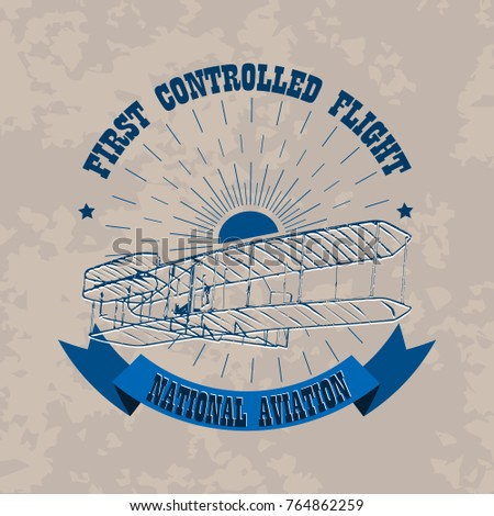 aviation emblem in retro style