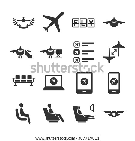Aviation icon series 6. Included the icons as airplane, airport, seat, app, flight, awards and more.