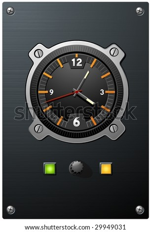 Aviation inspired clock device with orange marks on dial