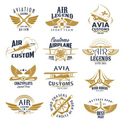 Aviation retro icons set of aircraft propeller and wings for avia customs and pilot legend team labels. Vector isolated badges of vintage airscrew for wind chasers and airplane riders sport crew