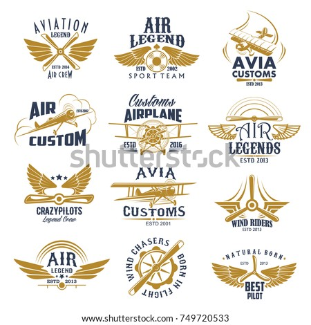 aviation retro icons set of