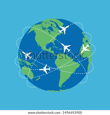 Aviation routes around the world as a symbol of global travel and business. Colorful planet earth on blue background with abstract airplane routes around it. Vector illustration stock photo