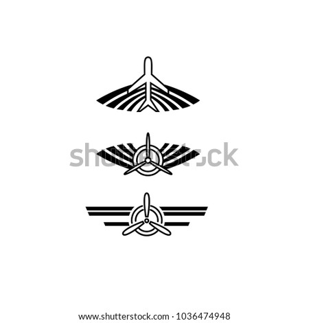 Aviation symbols of airplane propeller and aircraft wings. Retro logo.