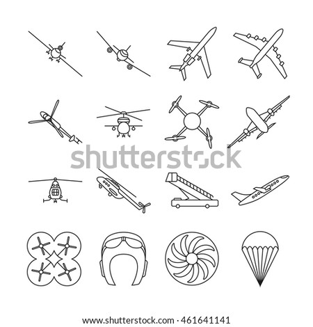 Aviation thin line vector icons set. Airplane in linear style, illustration of aviation transport airplanes and helicopter