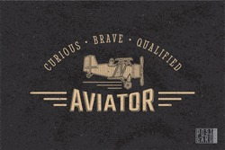 Aviator Old Style Inverted Logo Lettering and Vintage Aircraft on Retro Postcard Front Side Blank Template - Beige Elements on Black Rough Paper Effect Background - Flat Graphic Design