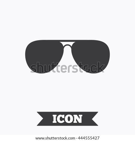 Aviator sunglasses sign icon. Pilot glasses button. Graphic design element. Flat sunglasses symbol on white background. Vector